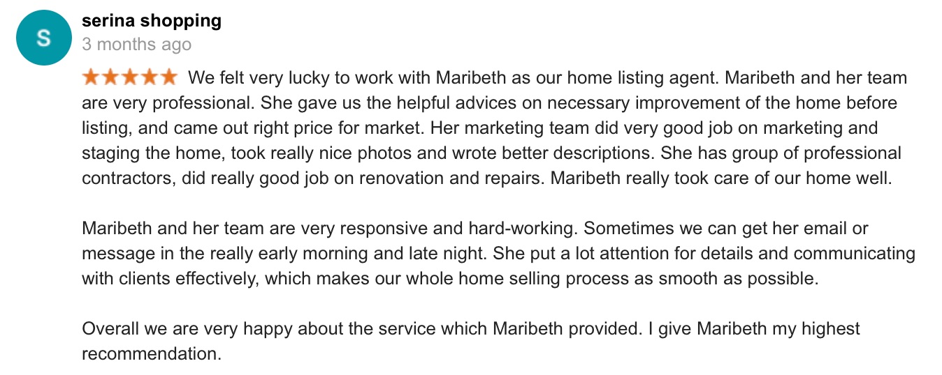 Screen shot of Serena S. Google review for Thrive Real Estate Specialists in Shrewsbury MA