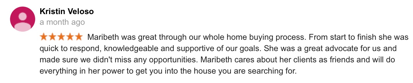 Google review for Thrive Real Estate Specialists in Shrewsbury MA
