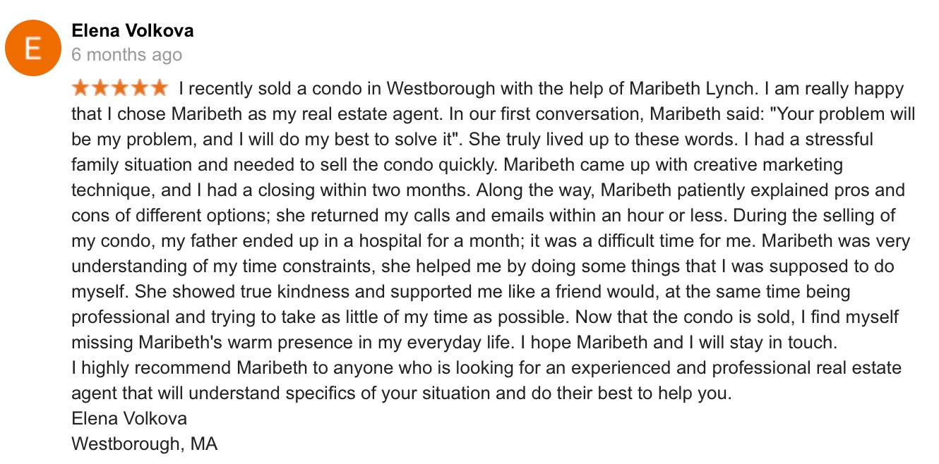 Google review screenshot from Elena for Thrive Real Estate Specialists of Shrewsbury MA