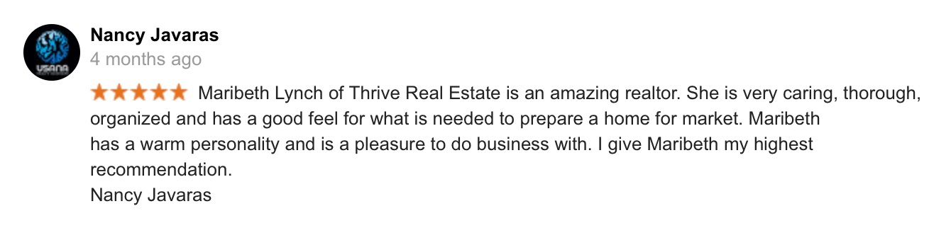 Google review screen shot from nancy J for Thrive Real Estate Specialists in Shrewsbury MA