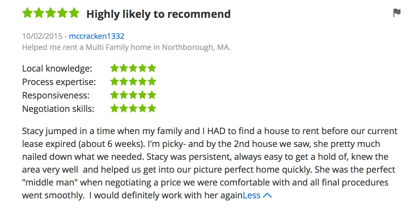screen shot of Zillow review for Stacey O'Neil of Thrive Real Estate Specialists in Shrewsbury MA