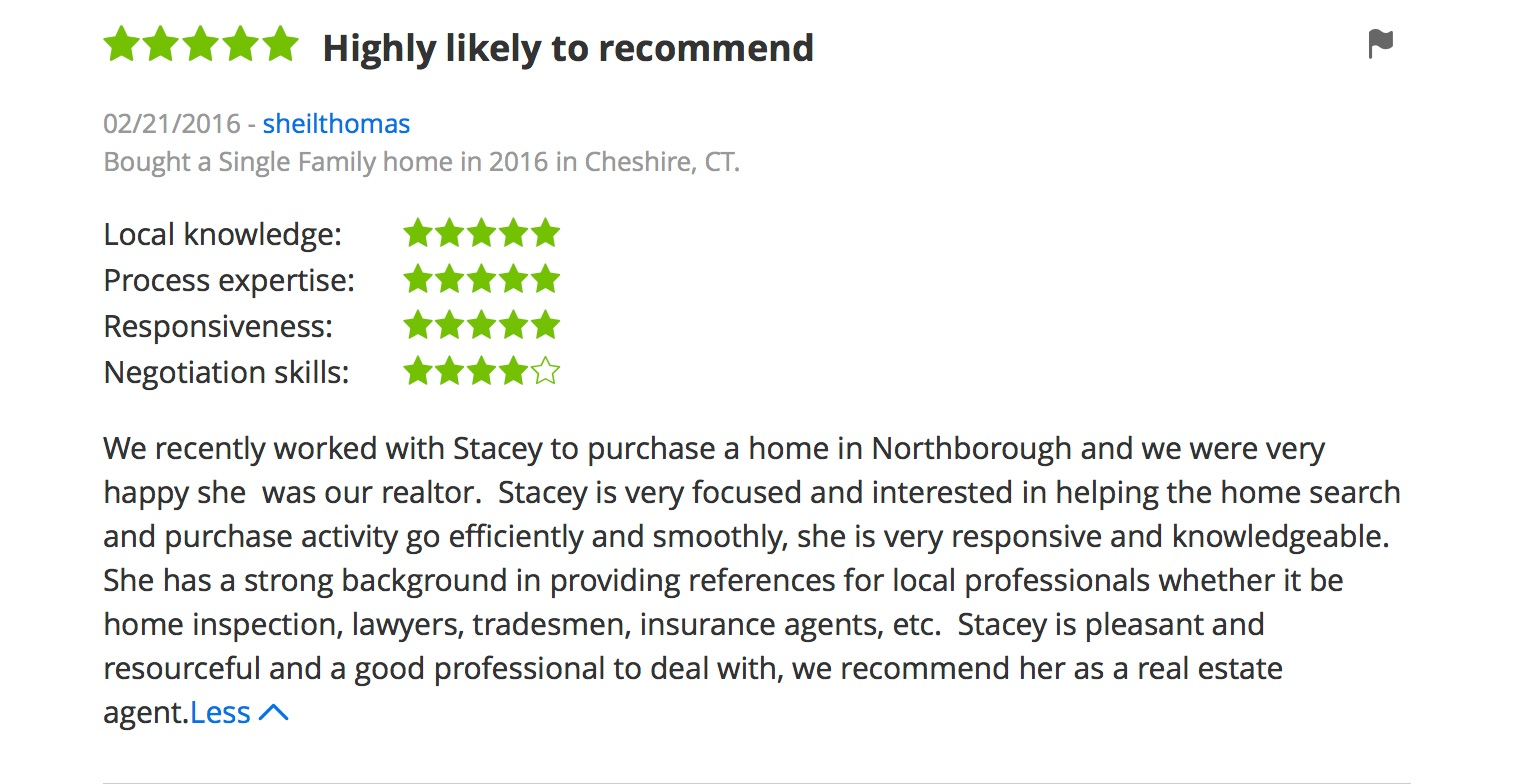 screen shot of Zillow Review for Realtor Stacey O'Neil