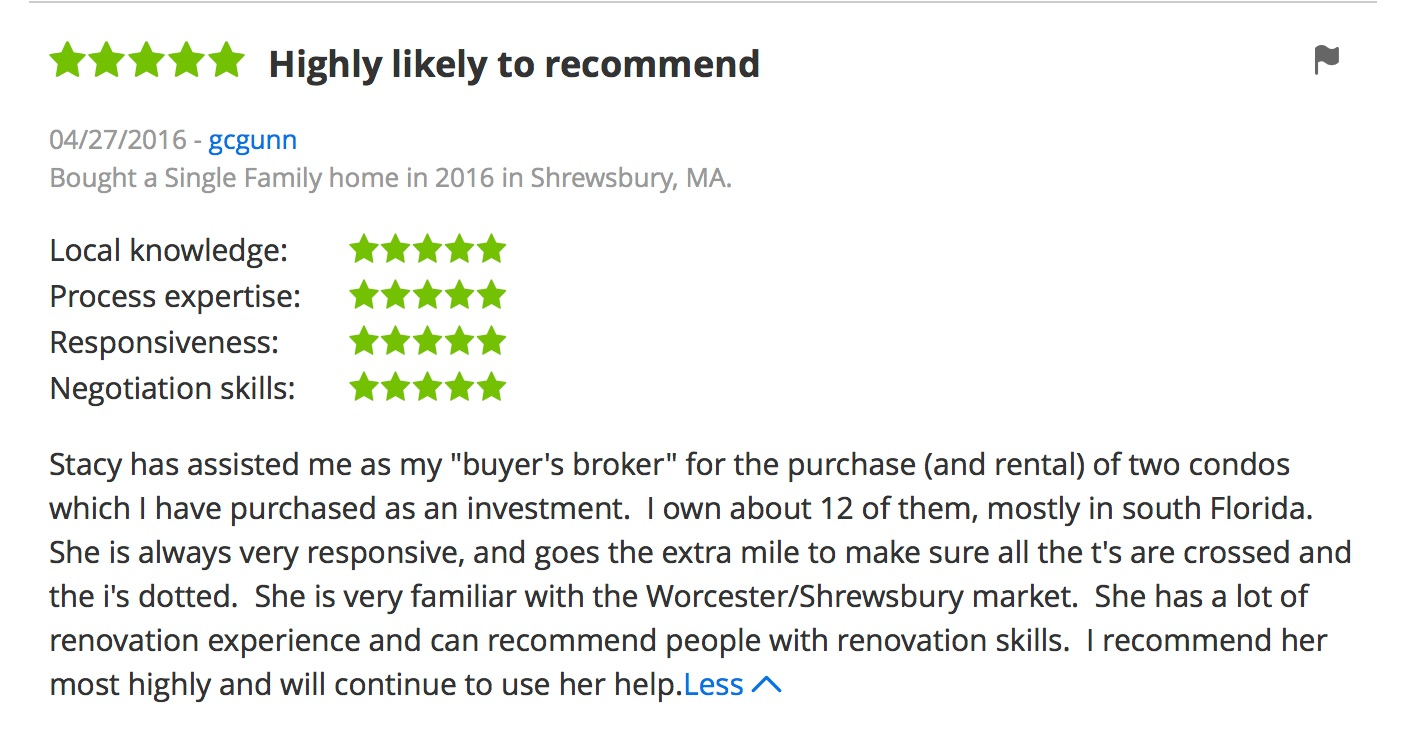 Screen shot of Zillow review for Stacey O'Neill of Thrive Real Estate Specialists in Shrewsbury MA