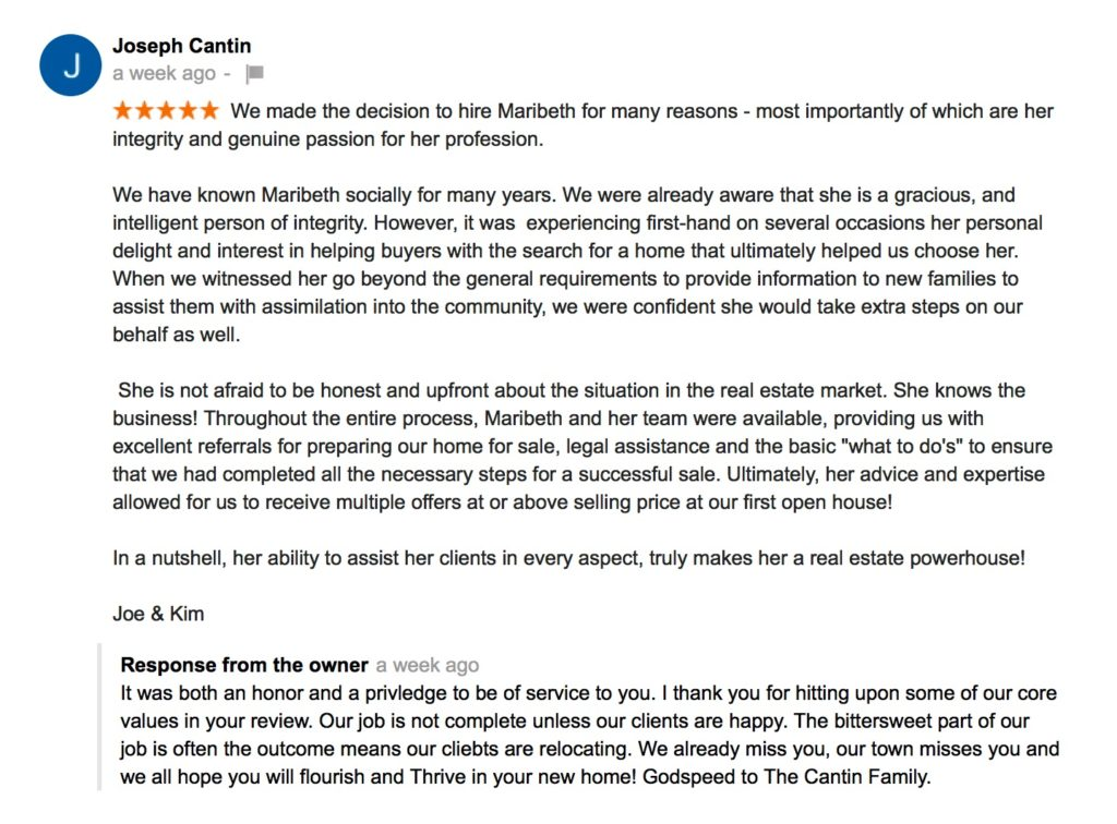 Google Review for Thrive Real Estate Joe Cantin
